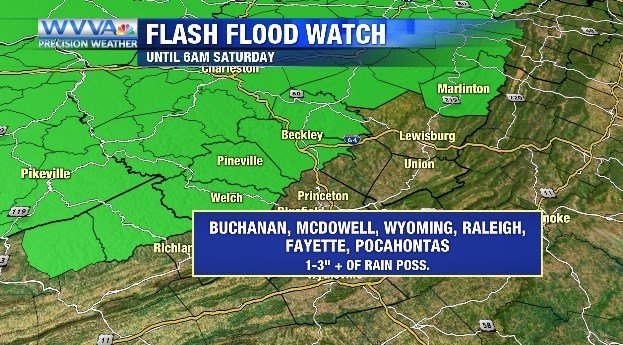 Heavy rain today with a Flash Flood Watch in effect