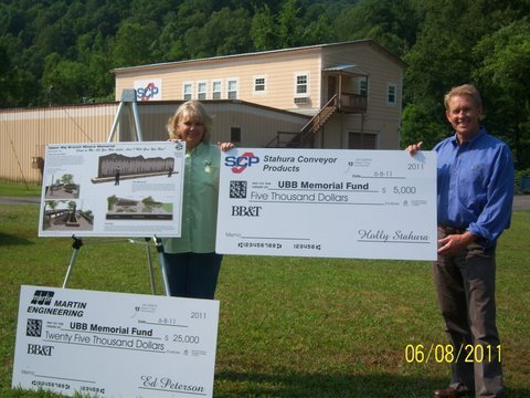 Photo from the check presentation, courtesy Mike Gwinn, VP-UBBMMG