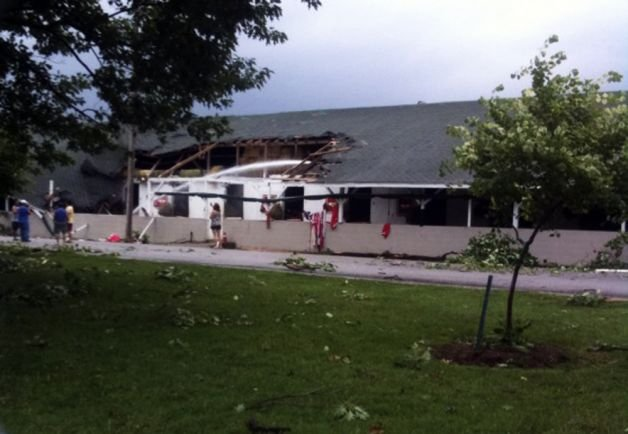 Damage to a building at Churchill Downs is seen Wednesday, June 22, 2011, in Louisville, Ky. Photo: Josh Abner / AP