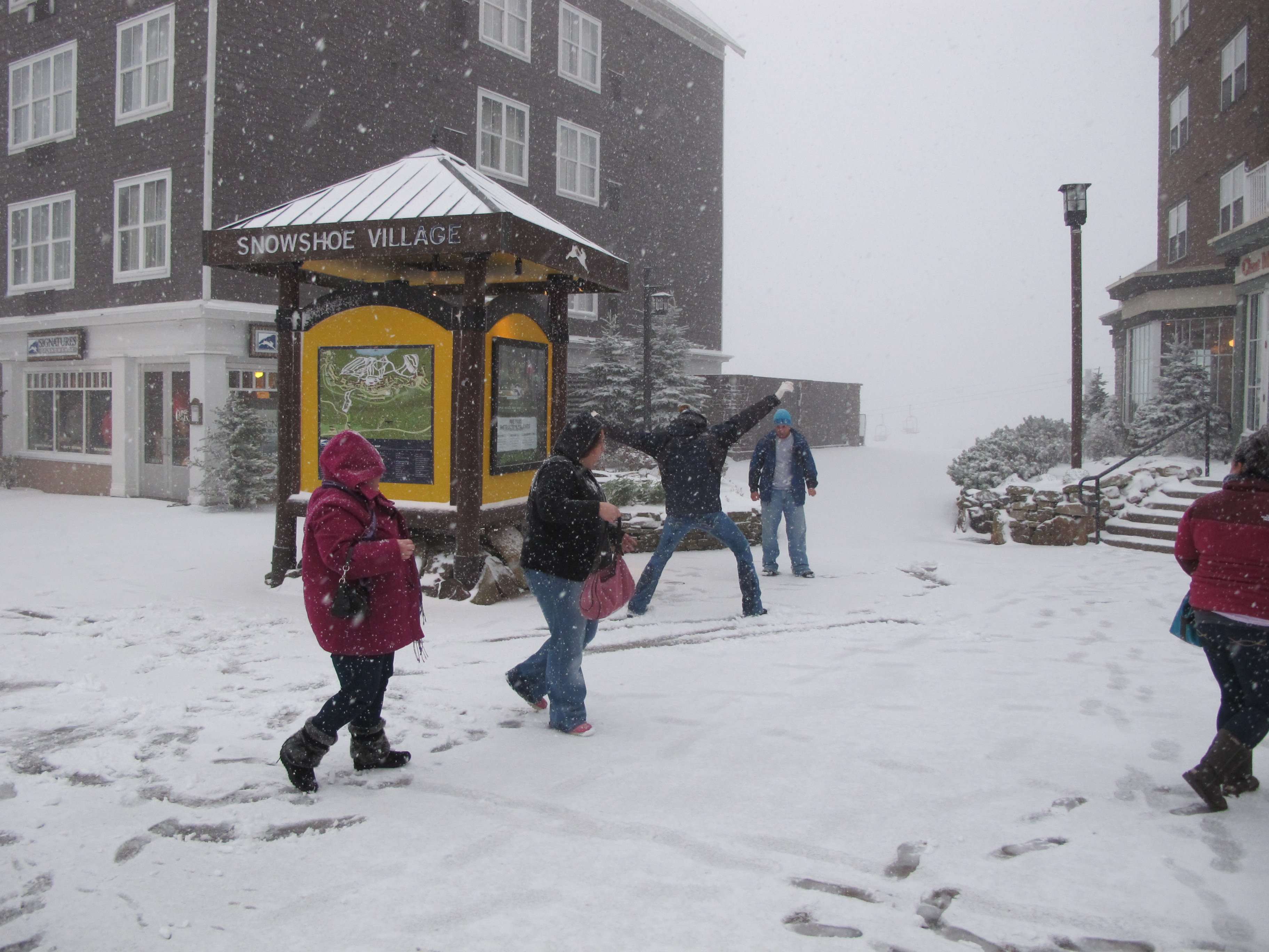 Snowball fight at Snowshoe Mountain Resort