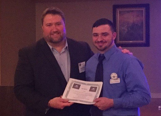 Jeff Disibbio  with first place winner William Lambert of Blue Ridge Bee Company: The Mercantile