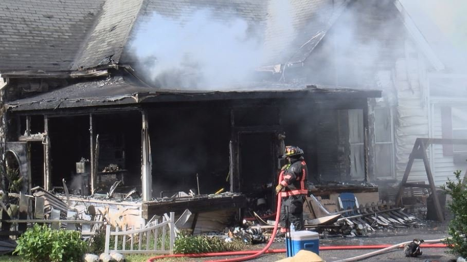 Beckley Fire Department Firefighters battle a house fire in the 300 block of N. Kanawha St.