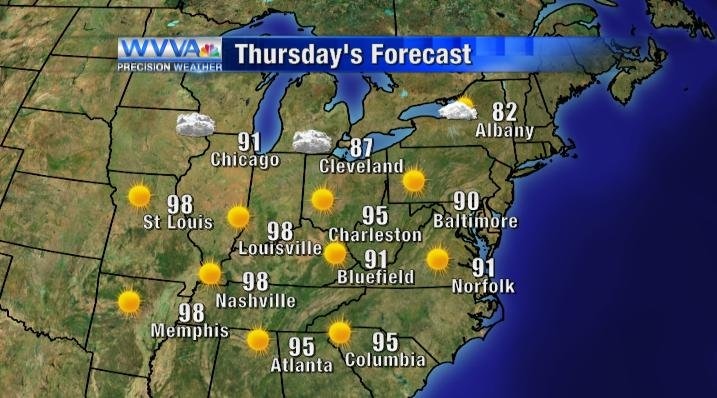 Thursday's high temperatures and weather