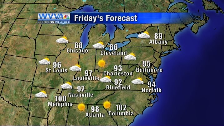Friday's high temperatures and weather