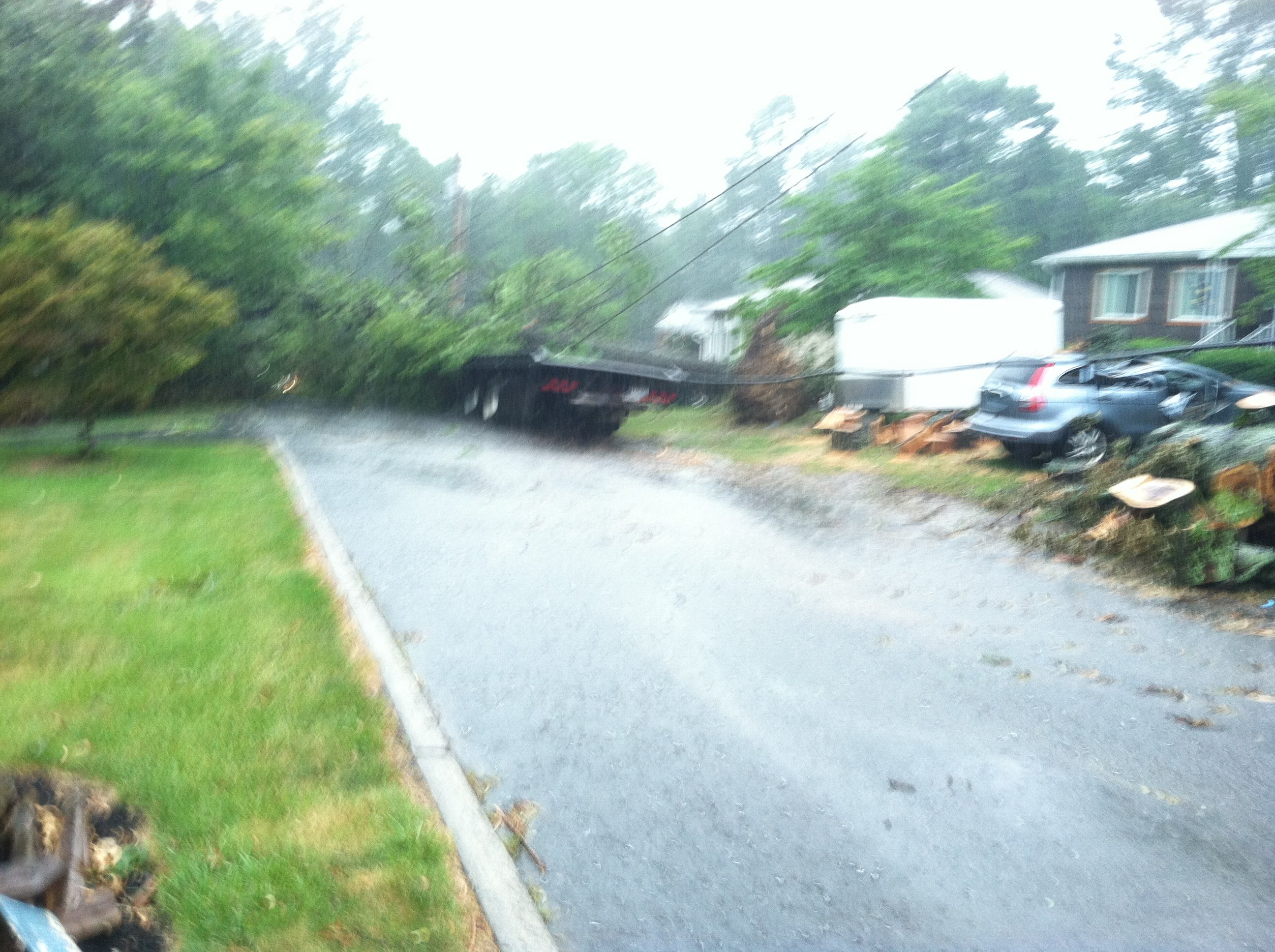 Power lines fall on truck in Beckley.
