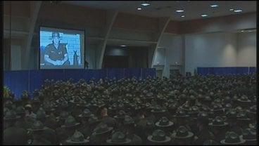 Scores of state troopers attended the service