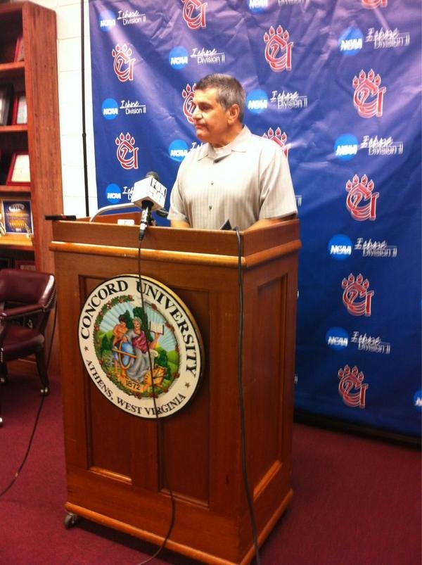 Zack Grossi's father addresses the media at Concord University Thursday.
