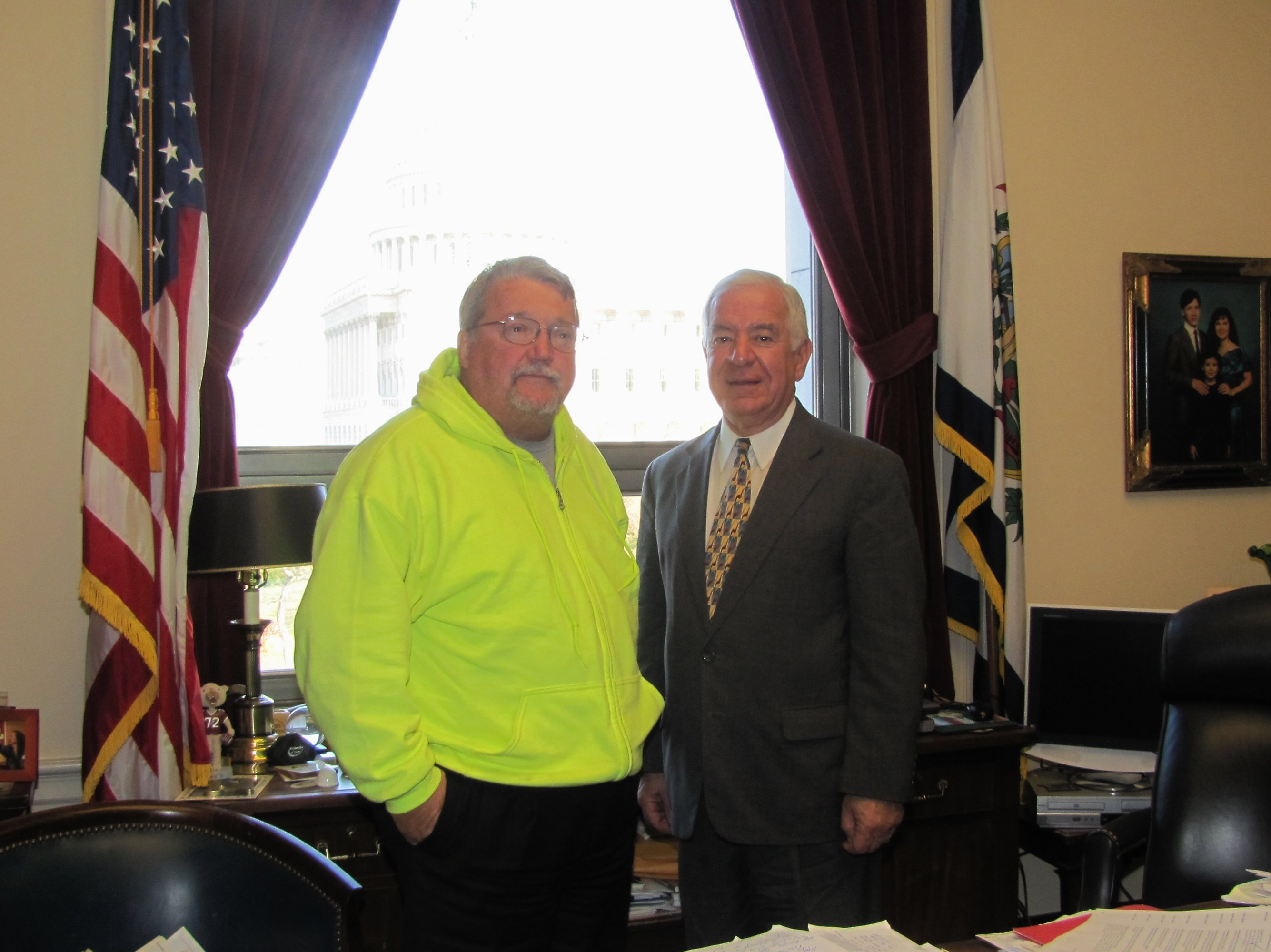 "Congressman Rahall with Wyoming County Circuit Clerk David ""Bugs"" Stover in Rahall's Capitol Hill office."