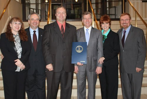 On hand for the presentation, from left: Marsha Presley, ECC Education Coordinator; Lt. Gov. Bill Bolling; ECC Chairman Jack Richardson; Gov. Bob McDonnell; ECC Executive Director Barbara Altizer; and Ken Nemeth, Southern States Energy Board.
