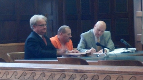 Thomas Hall, center, in court Monday