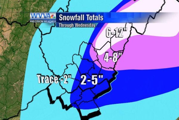 Snowfall predictions for Tuesday night through Wednesday night
