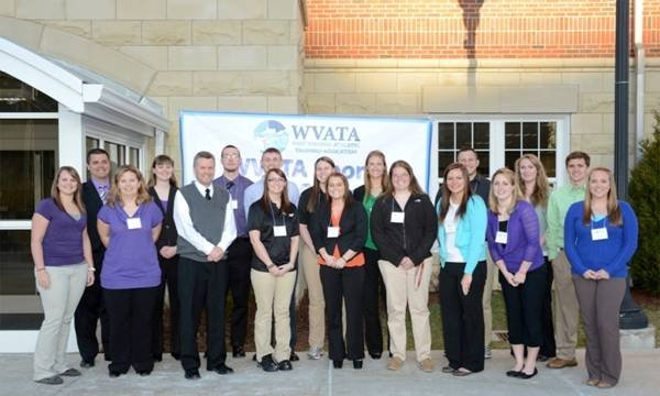 The Concord University delegation at the recent WVATA conference includes, front row, left to right: Casey Gerber, Alison Hall, Dr. Joe Beckett, Kara Broughman, Sami Spertzel, Meghan Kinkead, Erin Asbury, Samantha Clement, and Kat Naglee. Back row, left t