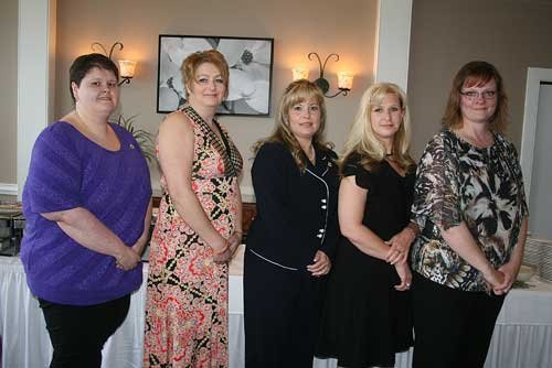 Bluefield College's first ever nursing graduates (from left): Charlene Crouse, Linda Moore, Heather Surface, Robin Riddle and Christy Lambert.