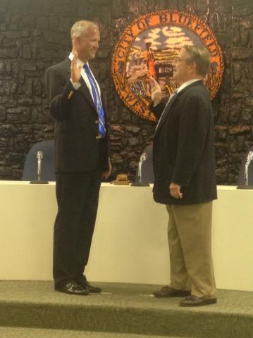 Mayor Tom Cole, left, sworn in; Photo by Kayla Lambert
