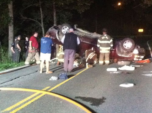 Crash near Mossy Saturday; photo by Robert Pauley