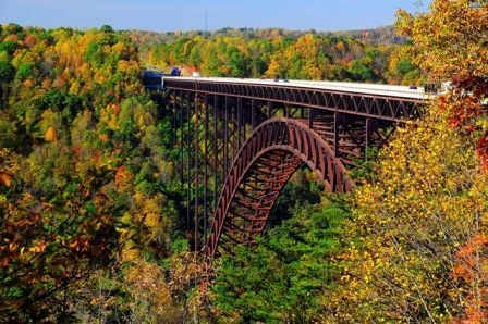 Photo courtesy West Virginia Department of Commerce. Foresters expect a colorful backdrop for Bridge Day. New River Gorge Bridge, October 2011.