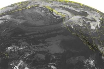 (AP Photo/Weather Underground). This NOAA satellite image taken Monday, Sept. 30, 2013, at 02:00 AM EDT shows an expansive area of cloudiness over the Pacific Northwest associated with a large area of low pressure over coastal British Columbia.