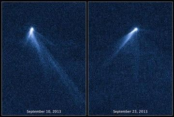 (AP Photo/NASA, ESA, D. Jewitt - UCLA). This combination of Sept. 10 and 23, 2013 photos provided by NASA shows six comet-like tails radiating from a body in the asteroid belt, designated P/2013 P5.