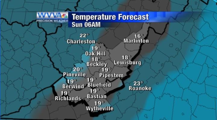 Temperature forecast by 6AM Sunday