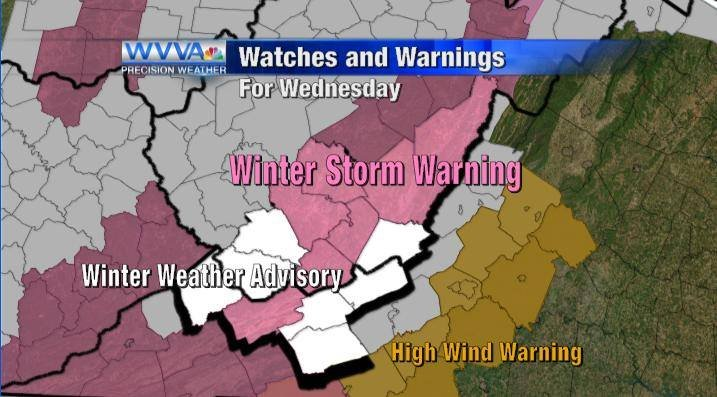 Winter Weather Advisories for Tuesday morning