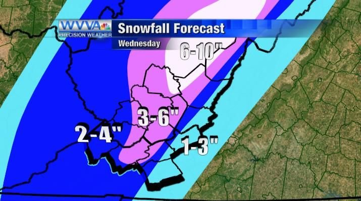 Snow totals for Wednesday
