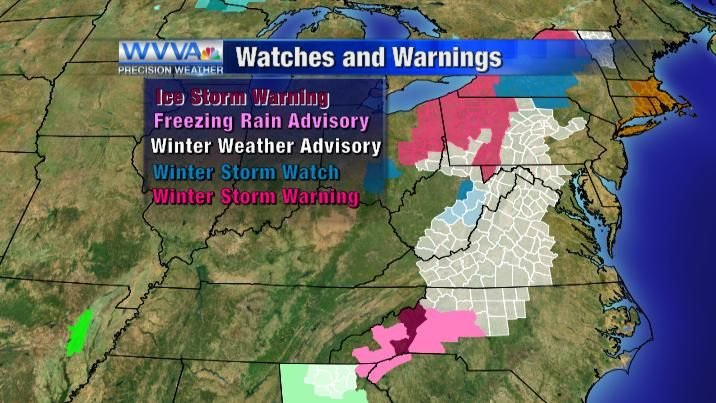 Warnings/Advisories/Watches as of Monday night