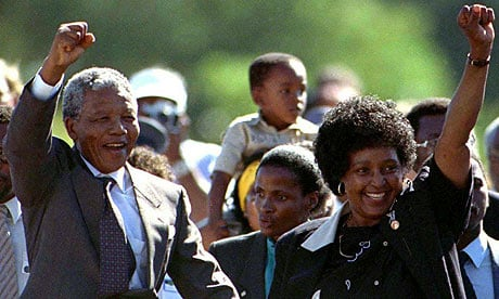 Nelson Mandela and his wife, Winnie, after his release from prison. Photograph: Ulli Michel/Reuters/Corbis