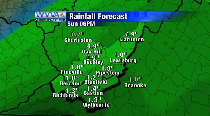 Rain totals for Sunday by 6pm.