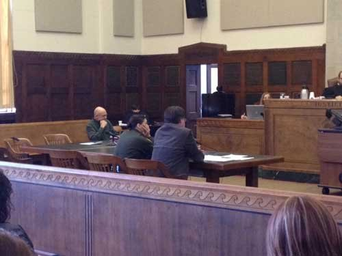 Timothy Probert in court (far left); photo by Kristen Conner