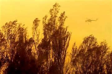 (AP Photo/Gregory Bull). A helicopter transporting water flies over trees during a wildfire Thursday, May 15, 2014, in Escondido, Calif.