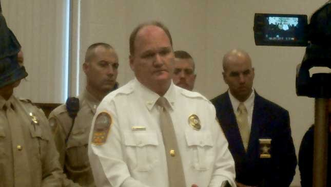 Sheriff Brian Hieatt addresses the media following Wednesday's hearing.