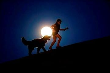 (AP Photo/Andres Kudacki). A girl plays with a dog as a perigee moon, also known as a supermoon, rises in Madrid, Sunday, Aug. 10, 2014.