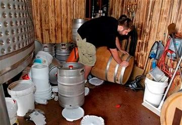 AP Photo/Eric Risberg). Tyler Dahl looks over a $16,000 barrel of Pinot Noir wine that fell from a rack and broke open after an earthquake at Dahl Vineyards Sunday, Aug. 24, 2014, in Yountville, Calif.