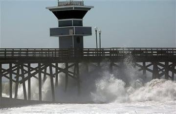 (AP Photo/ Nick Ut ). A big wave from Hurricane Marie smashes against the Seal Beach pier in Seal Beach, Calif. on Wednesday, Aug. 27, 2014.