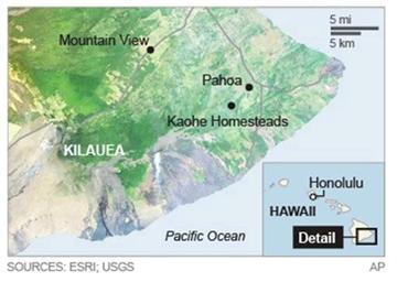 Map locates Kilauea volcano in Hawaii.; 2c x 3 inches; 96.3 mm x 76 mm;