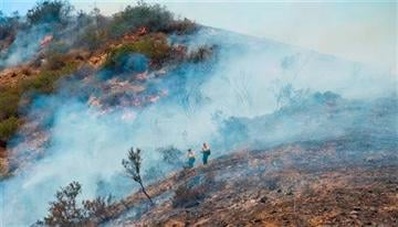 AP Photo/Orange County Register, Sam Gangwer). Firefighters work on a brush fire in Silverado Canyon in Orange County, Calif. on Friday, Sept. 12, 2014.
