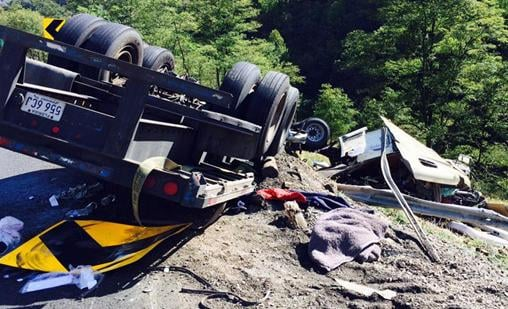 Driver is critically injured in tractor trailer crash on I-64