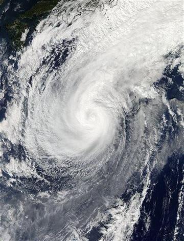 (AP Photo/NASA). This Nov. 5, 2014 photo provided by NASA shows a picture captured by NASA's Aqua satellite of Typhoon Nuri.