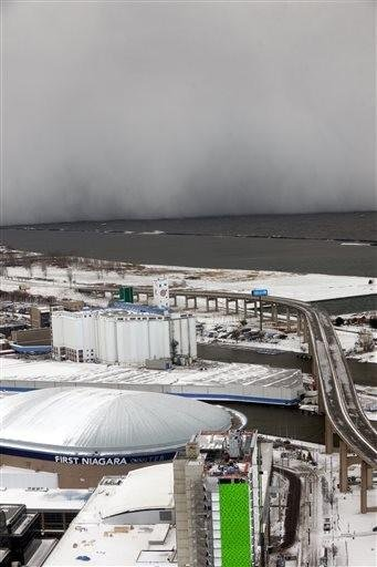 (AP Photo/Gary Wiepert). A lake-effect wall of snow storm travels across Lake Erie into Buffalo, N.Y.