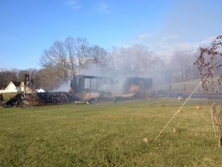 Mobile home is destroyed in a fire on Surface Hill Road in Mercer County.