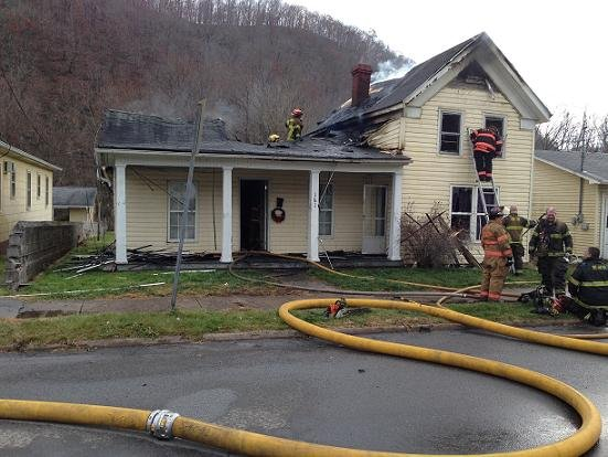 Home on Pleasant Street in Hinton, WV is destroyed by fire on Friday.