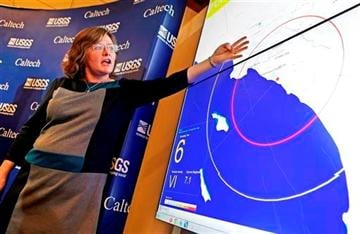(AP Photo/Reed Saxon,File). FILE - In this Jan. 28, 2014 file photo, Dr. Lucy Jones, senior advisor for risk reduction for the U.S. Geological Survey, describes how an early warning system would provide advance warning of an earthquake