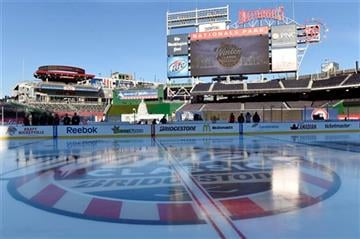 (AP Photo/Susan Walsh). The rink at Nationals Park in Washington stands coated with ice Tuesday, Dec. 30, 2014, in preparation for the New Year's Day Winter Classic outdoor NHL hockey game between the Washington Capitals and the Chicago Blackhawks.