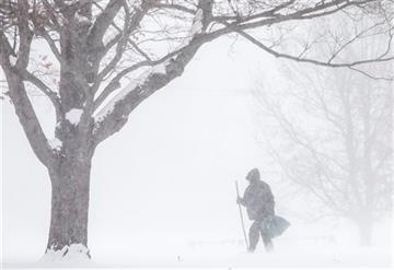 (AP Photo/South Bend Tribune, Robert Franklin). A man walks through snow on Wednesday, Jan. 7, 2015, at Pinhook Park in South Bend, Ind.