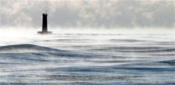 (AP Photo/Sheboygan Press Media, Gary C. Klein). The Lighthouse is mired in the depth of winter's chill along Lake Michigan as seen Wednesday Jan. 7, 2015 in Sheboygan, Wisc. Cold weather is expected to stay around for a few days.