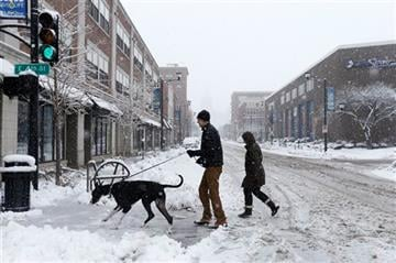 (AP Photo/The Des Moines Register, Michael Zamora). Wilson the great dane leads the way as Chris and Christine Lemke take their dog for a walk around a snowy East Village Sunday, Feb. 1, 2015