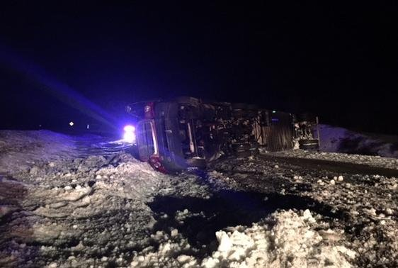 A tractor trailer flips on Interstate 64 near the Sandstone Exit.