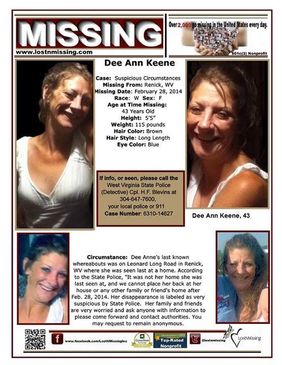 Missing poster for Dee Ann Keene