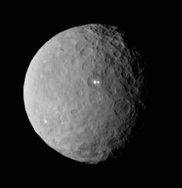 (AP Photo/NASA/JPL-Caltech/UCLA/MPS/DLR/IDA, File). FILE - This Feb. 19, 2015 file image provided by NASA shows the dwarf planet Ceres, taken by the space agency's Dawn spacecraft from a distance of nearly 29,000 miles (46,000 kilometers).