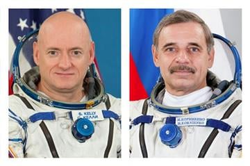 (AP Photo/Roscosmos/GCTC). This combination of August 2010 and February 2015 photos provided by the Russian Federal Space Agency (Roscosmos) and the Gagarin Cosmonaut Training Center (GCTC) shows astronaut Scott Kelly and cosmonaut Mikhail Kornienko